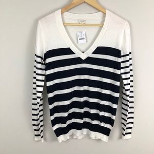 J. Crew double-stripe V-neck sweater